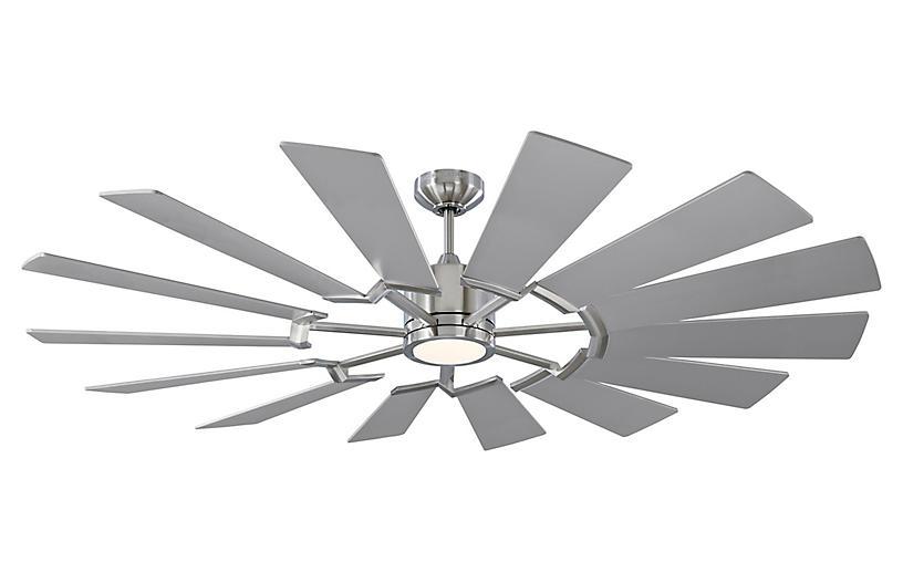 Prairie Ceiling Fan, Brushed Steel