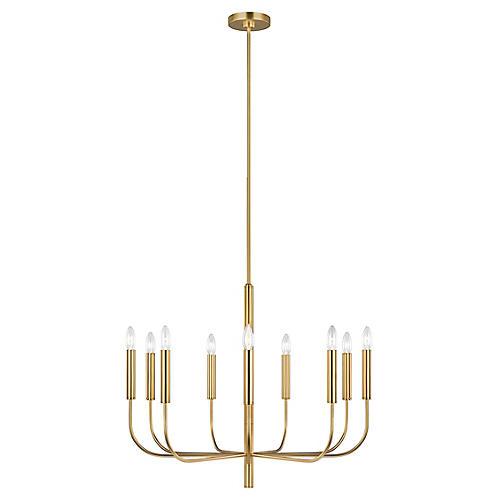 Brianna 9-Light Chandelier, Burnished Brass