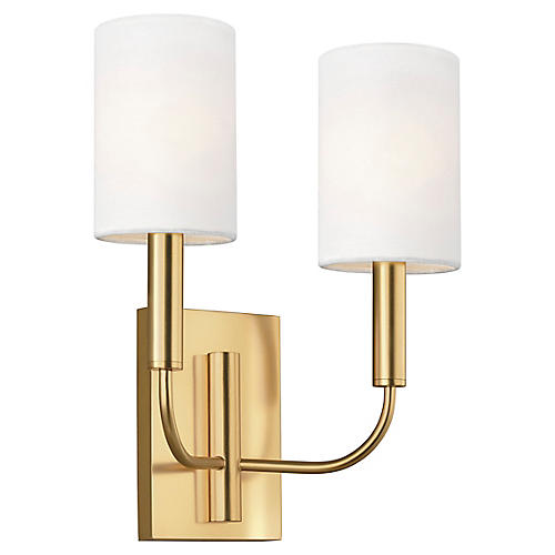 Brianna 2-Light Sconce, Burnished Brass