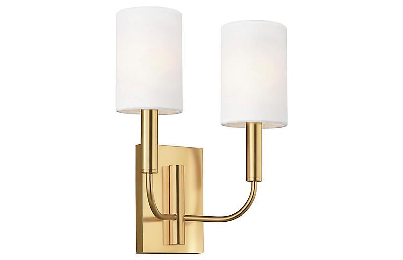Brianna 2-Light Sconce, Burnished Brass