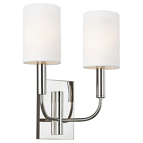 Brianna 2-Light Sconce, Polished Nickel