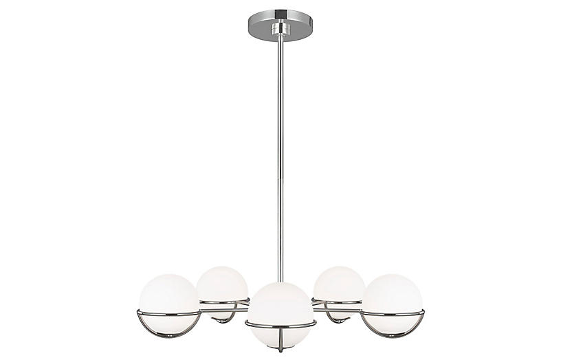 Apollo 5-Light Chandelier, Polished Nickel