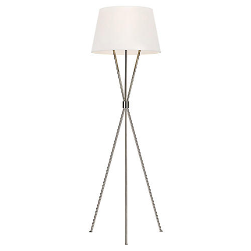 Penny Floor Lamp, Polished Nickel