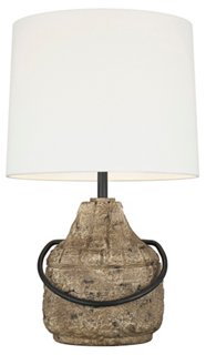 Augie Table Lamp, Stone - Come be inspired by Get the Look: Warm White Living Room Design With Unfussy Sophisticated Style...certainly soothing indeed.