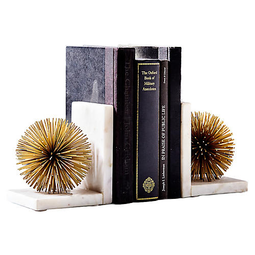 S/2 Starburst Marble Bookends, Gold/White