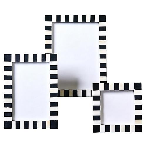 Asst. of 3 Simone Picture Frames, Black/White