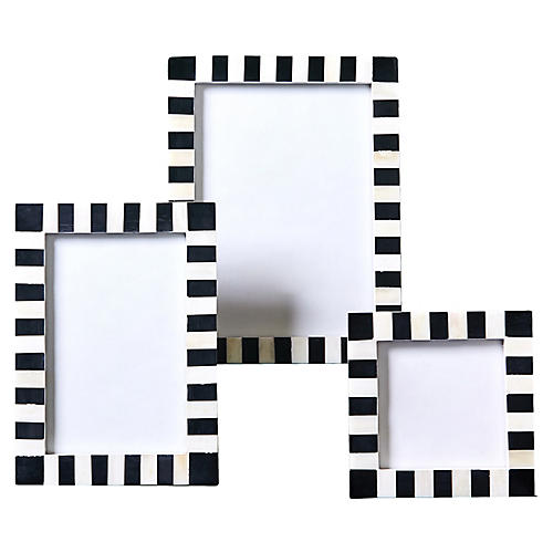 Asst. of 3 Simone Picture Frames, Black/White