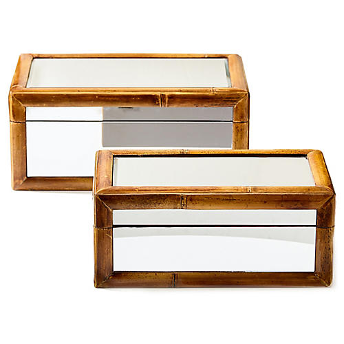 Asst. of 2 Shayla Bamboo Boxes, Natural/Mirrored