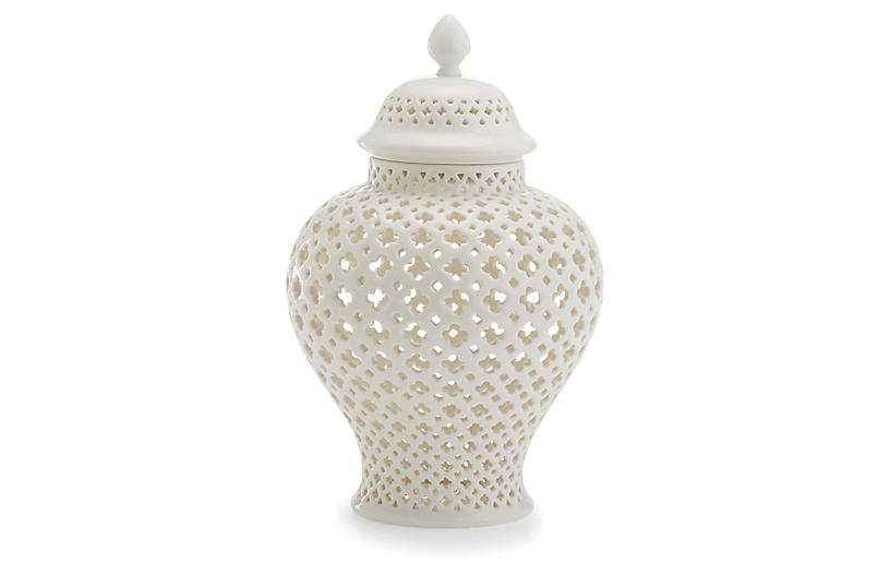 Henley Covered Lantern, White by One Kings Lane