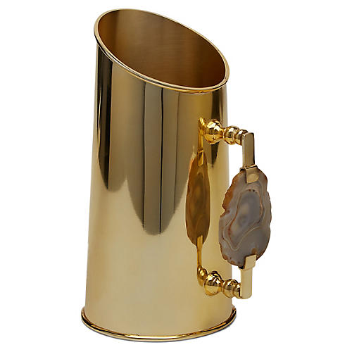 Reya Pitcher, Natural Agate/Brass
