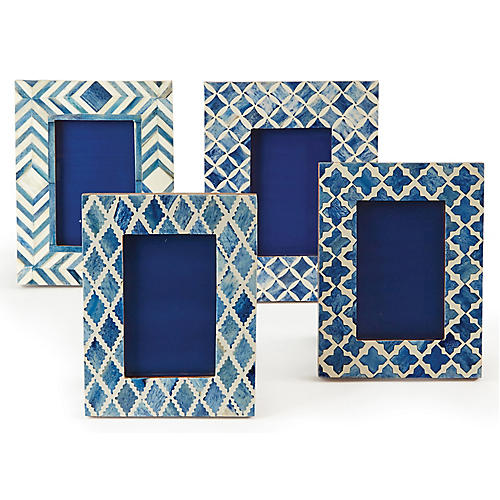 Asst. of 4 Octave Picture Frames, Bone/Blue