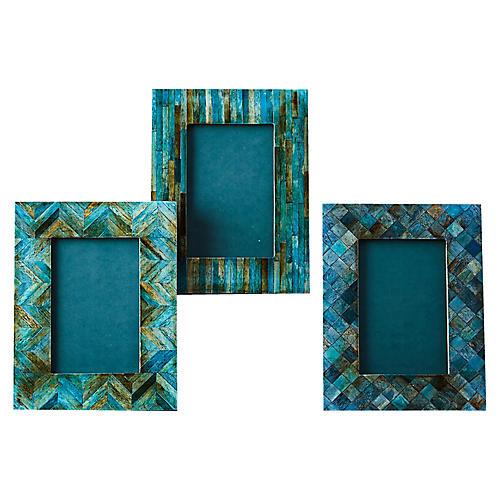 Asst. of 3 Marter Picture Frames, Teal/Multi