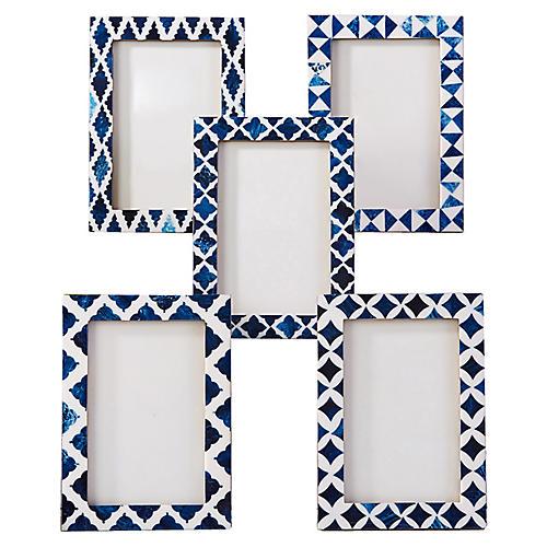 Asst. of 5 Boxter Picture Frames, Indigo