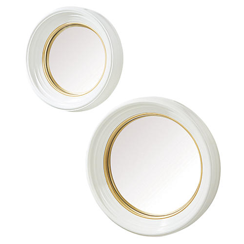 Maddox Convex Wall Mirrors, White/Gold