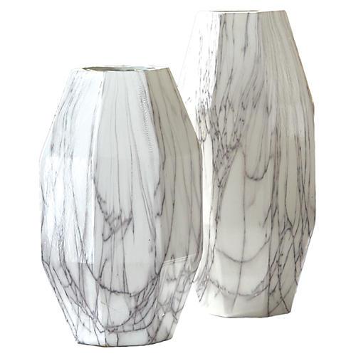 Asst. of 2 Faux-Carrara Vases, White/Gray