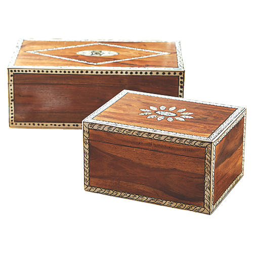 Asst. of 2 Amani Boxes, Natural/Bone