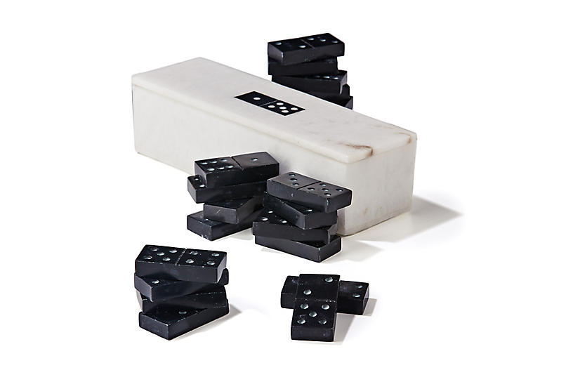 Lex Marble Domino Set, Black/White