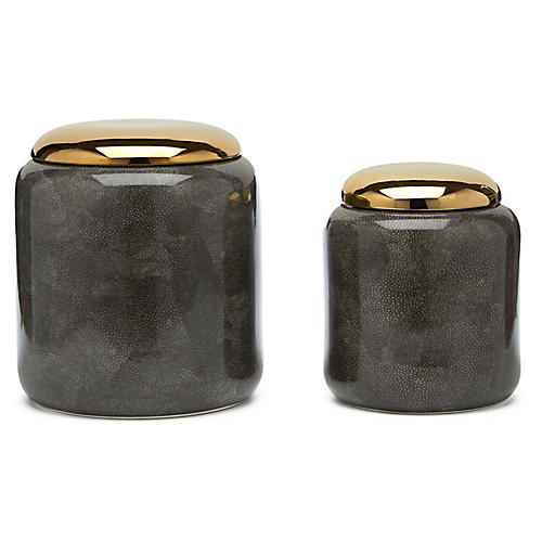 Asst. of 2 Faux-Shagreen Metallic Jars, Gray/Gold