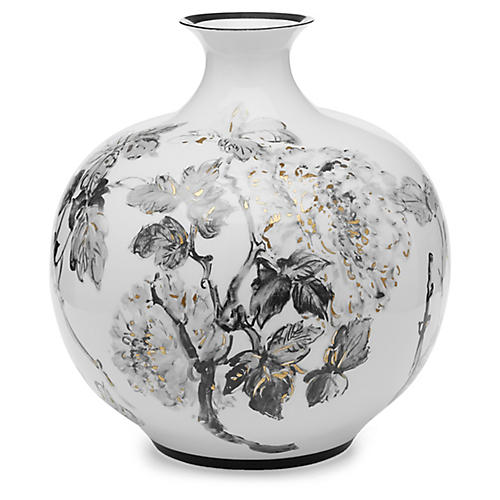 "16"" Shayna Large Vase, Black/Gold"