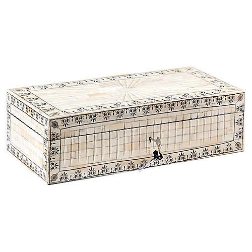 """20"""" Laila Palace Jewelry Box, Bone/Black"""