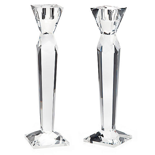 S/2 Prism Candlesticks, Clear