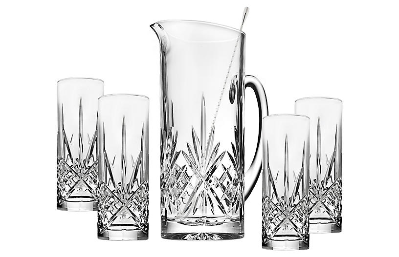 S/5 Dublin Beverage Set, Clear