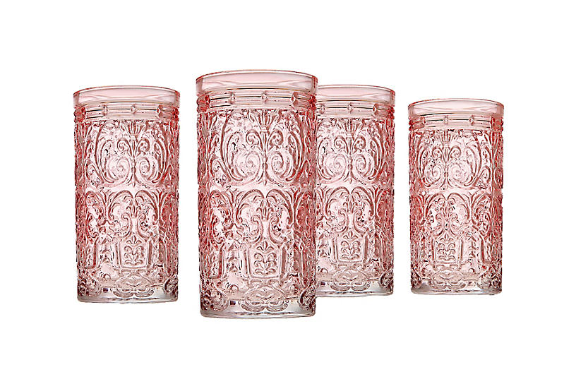 S/4 Jax Highball Glasses, Pink