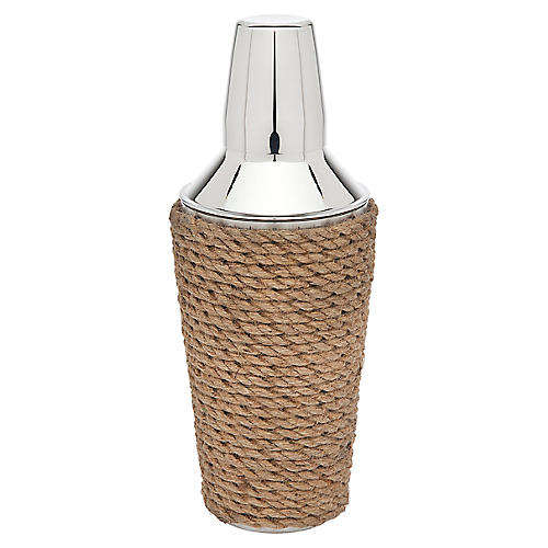 Rope Cocktail Shaker, Silver/Tan