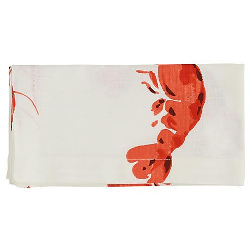 S/4 Lobster Fête Dinner Napkins, Red/White