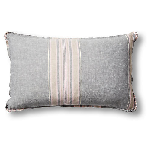 Neapolitan 16x26 Pillow, Gray/Multi Linen