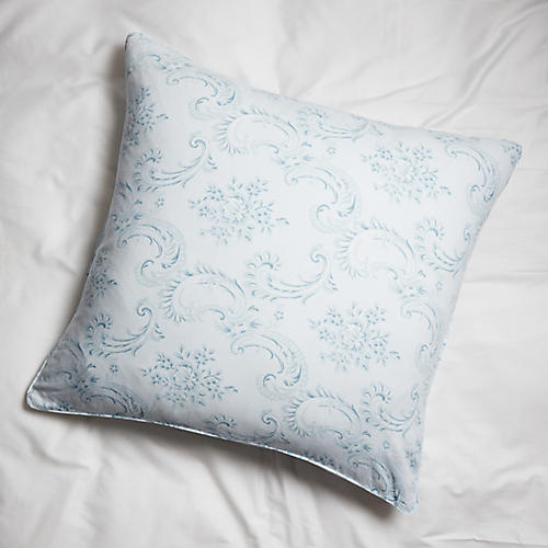 Dusty Euro Sham, Blue/White