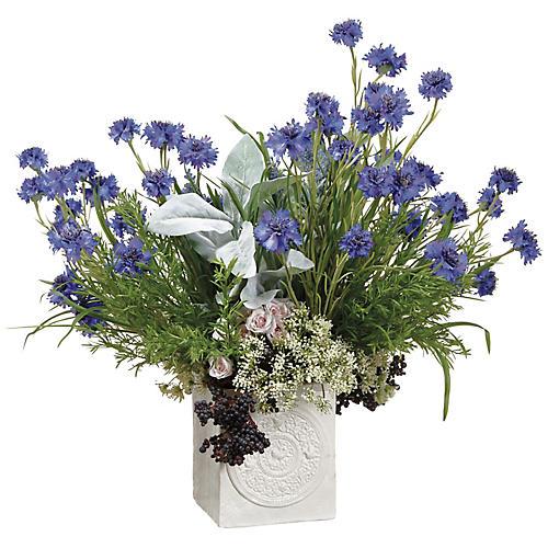 """26"""" Lavender & Cornflower Arrangement, Faux"""