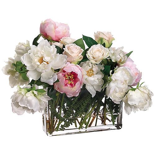 "20"" Rose & Peony Arrangement w/ Wide Vase, Faux"