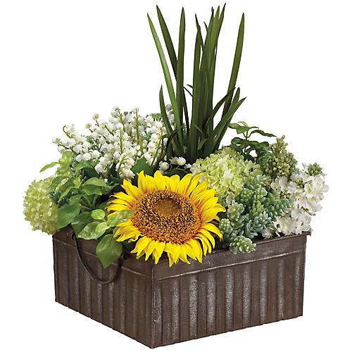"""18"""" Sunflower & Succulent Arrangement, Faux"""