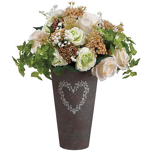 "20"" Ranunculus & Rose Arrangement, Faux"