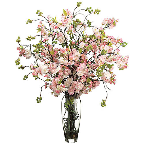 "35"" Cherry Blossom Arrangement w/ Vase, Faux"