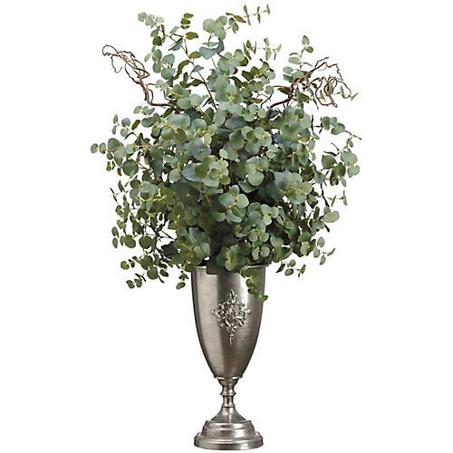 """47"""" Leafy Eucalyptus Arrangement, Faux"""