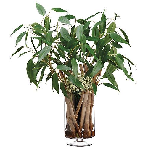 "36"" Eucalyptus & Driftwood Mix w/ Vase, Faux"