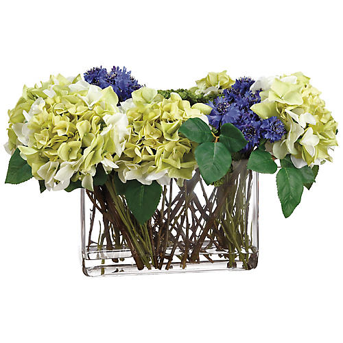 "21"" Cornflower & Hydrangea Arrangement, Faux"