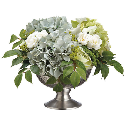 "17"" Hydrangea & Ranunculus Mix w/ Bowl, Faux"