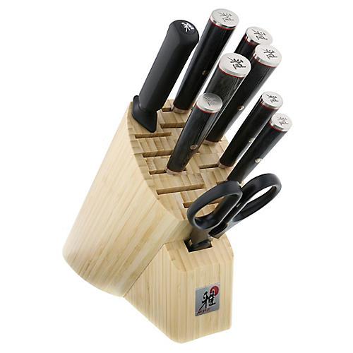 Kaizen 10-Pc Knife Block Set, Black/Multi