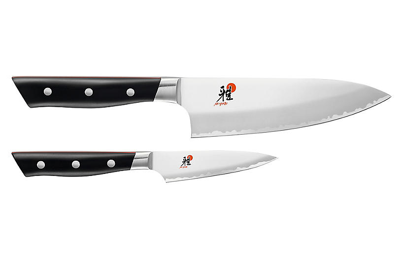 Evolution 2-Pc Knife Set, Silver/Black