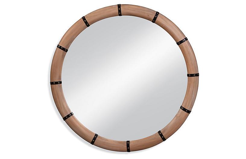 Huntley Round Wall Mirror, Natural