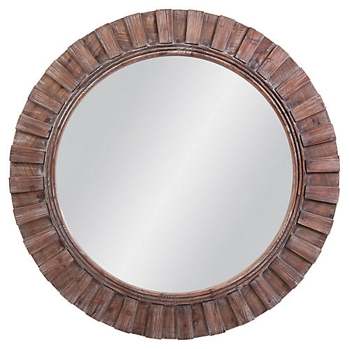 Pendleton Round Wall Mirror, Natural