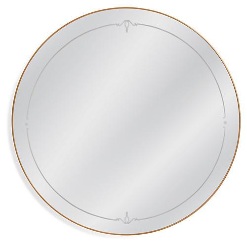 Sabrina Round Wall Mirror, Antiqued Gold