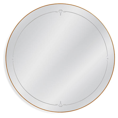 Sabrina Round Wall Mirror, Antiqued Gold