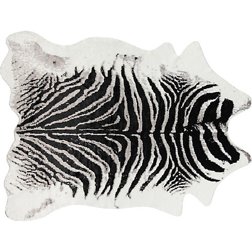 5'x8' Acadia Zebra Faux-Hide Rug, Black