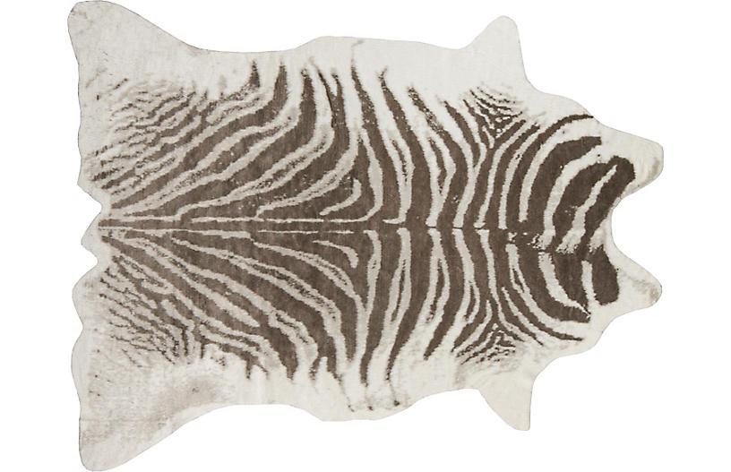 5'x8' Acadia Zebra Faux-Hide Rug, Gray