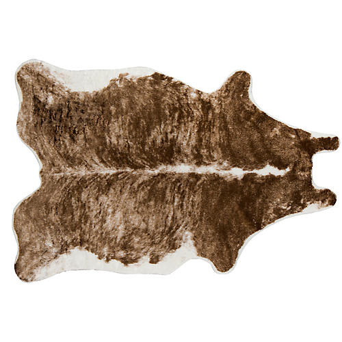 5'x8' Acadia Brindle Faux-Hide Rug, Brown