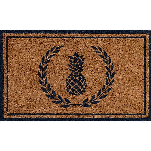 """1'6""""x2'6"""" Pineapple Doormat, Navy"""